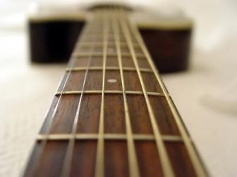 acoustic guitar fretboard close up