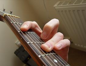 alternative A form chord fingering using ring finger barre