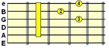 dominant 7th D shape barre chord