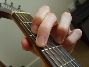 photo of G major guitar chord fingering