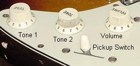 electric guitar tone and volume controls and pickup switch