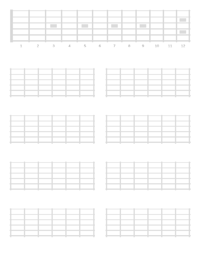 12 fret diagram plus 8 5 fret diagrams