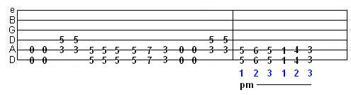 palm muted riff involving 3/4 time