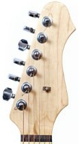 guitar headstock with 6 in line tuners