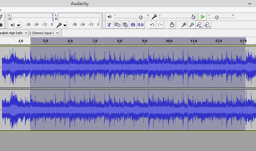 highlighting audio in Audacity