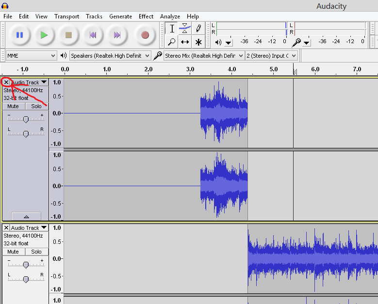 creating a new track in Audacity