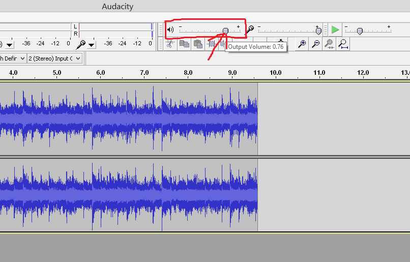 output volume in Audacity