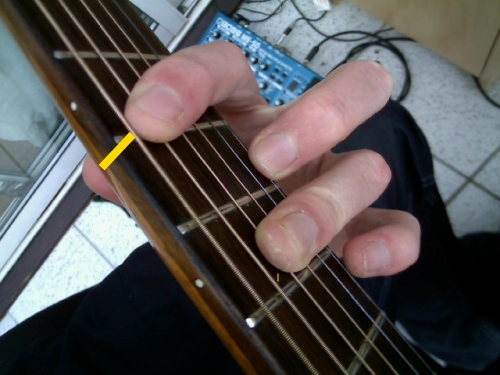 major A shape chord with ring finger barre
