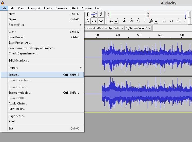 exporting audio in Audacity