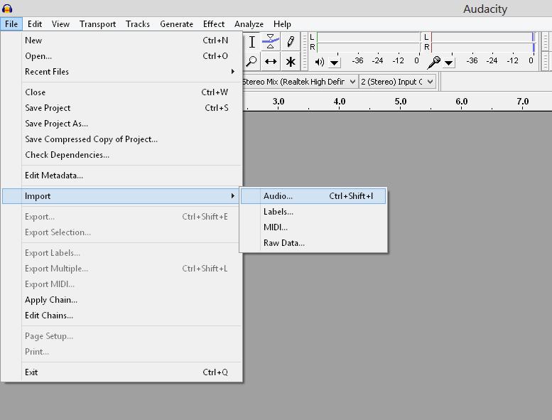 importing audio into Audacity