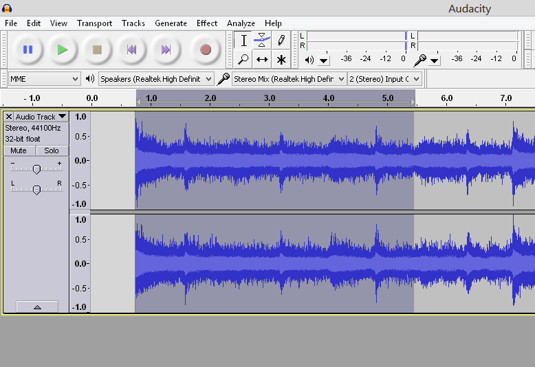 highlighting part of audio in Audacity