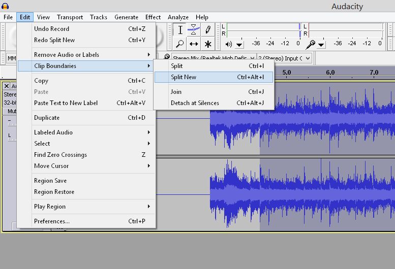Splitting audio in Audacity